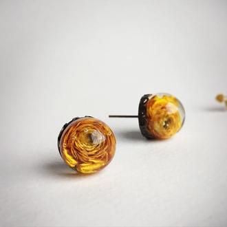 Серьги-гвоздики с жёлтыми лютиками (модель № 425) Glassy Flowers
