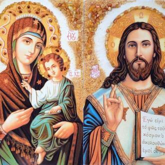 Иконы венчальные  из янтаря