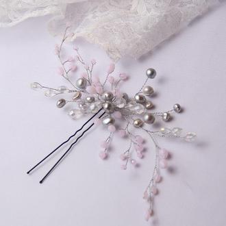 Свадебная веточка. Шпилька с бусинами. Свадебное украшение в волосы.