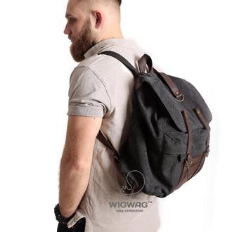 Мужской рюкзак из канваса (холста) и натуральной кожи