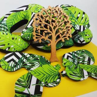 Дорожная подушка - листва, подушка для путешествий - геометрия, подушка для шеи - листва