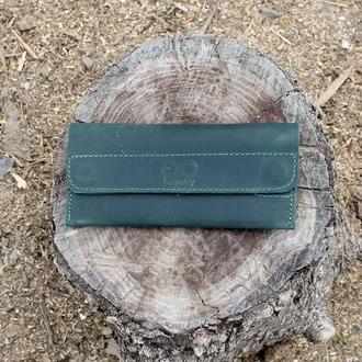 Кошелек портмоне на магнитах зеленый magnets