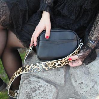 Стильная сумка с леопардовым ремешком (полностью из натуральной кожи)