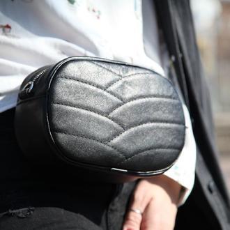 Стильная сумка из натуральной кожи 2в1 (кроссбоди + поясная) ПОЯС В КОМПЛЕКТЕ
