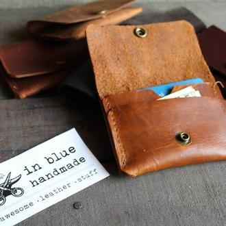 Кардхолдер маленький кошелек кожаный кошелек для карт подарок мужу парню шкіряний гаманець