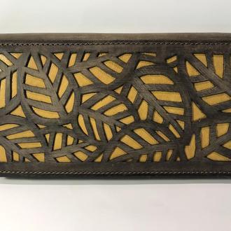 Кошелек портмоне клатч кожаный Листья