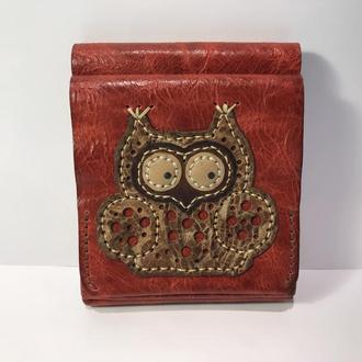 Портмоне кошелек кожаный Сова