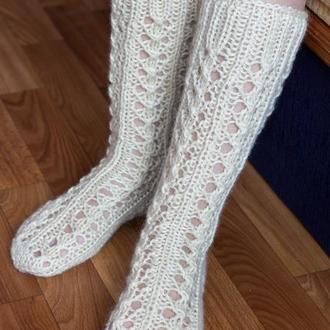 Ажурные шерстяные носки