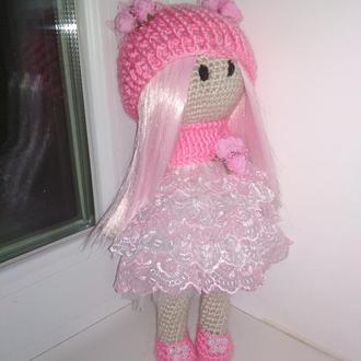 Вязаная розовая кукла тильда 32см