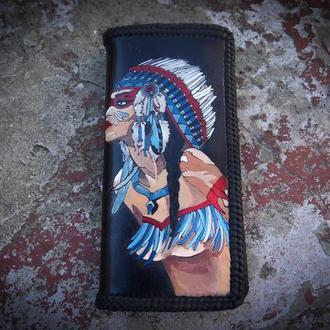 Кожаный кошелек индианка (под заказ)
