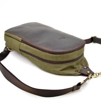 Слинг-рюкзак из канвас и лошадиной кожи RH-2017-4lx TARWA, городской тканевой рюкзак, одношлеечный