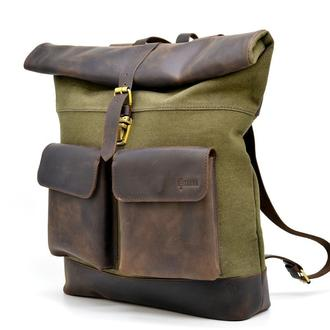 Ролл-ап городской рюкзак ткань канвас и лошадиная кожа TARWA RH-3462-4lx