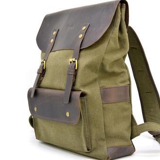 Рюкзак унисекс парусина+кожа RH-9001-4lx бренда TARWA винтажный городской рюкзак