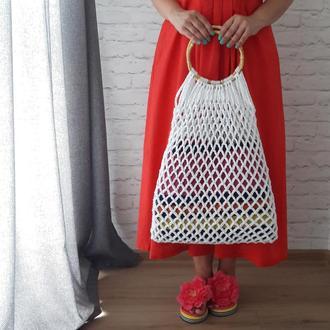 Пляжная сумка - сетка, авоська с бамбуковыми ручками