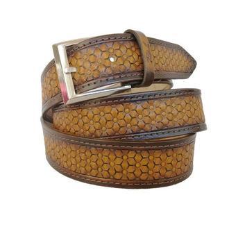 Кожаный ремень градиент светло-коричневый «Ромашка» (12 цветов)
