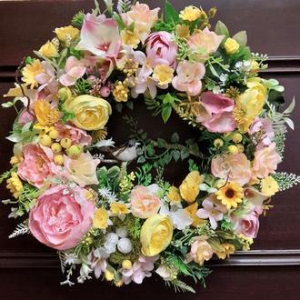 Весенний пасхальный пасхальный летний венок на дверь стену стол подарок декор венок