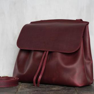 Женская кожаная сумка Passion на плечо (бордовый)