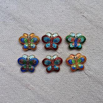 цветные бабочки - эмаль на металле, 6 шт.