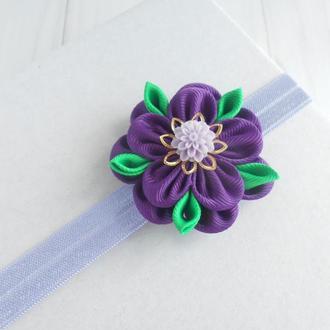 Фиолетовая повязка для малышки на годик Подарок ребенку Украшение для волос на фотосессию с цветком