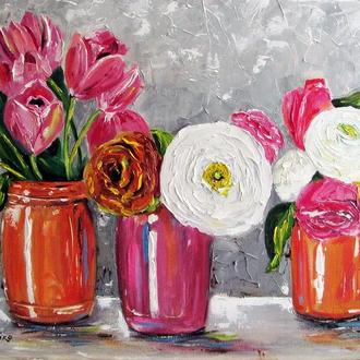 """Картина маслом """"Весенние цветы"""""""