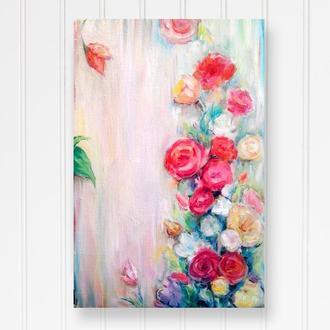 Абстрактная картина Картина с цветами Картина для интерьер Картина розы Картина маслом