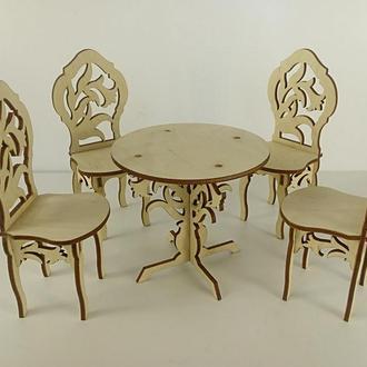Кукольная мебель/ Набор стол и стулья/ Мебель для кукол барби