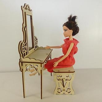 Мебель для кукол/ Сказочное трюмо с лавочкой для Барби/ Мебель для барби