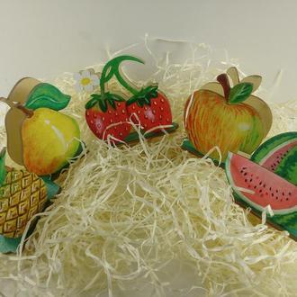 Салфетницы фрукты/ Салфетницы с художественной росписью/ Кухонные принадлежности/Свенир для кухни