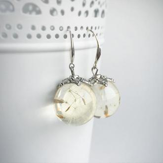 Серебряные серьги с одуванчиками (модель № 601) Glassy Flowers