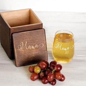Гравированный винный стакан «Мама»