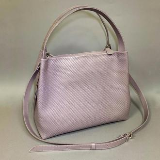 """Женская сумка """"Жаклин"""" натуральная кожа сиреневого цвета, сумка-мешок, сумка-шоппер"""