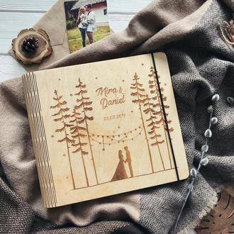 """Свадебный фотоальбом / Свадебная гостевая книга / Альбом для фотографий """"Forest"""""""