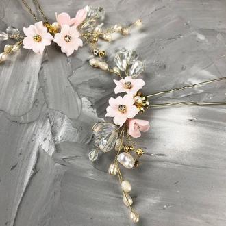 Шпильки для волос с цветами