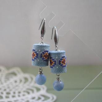 Серьги с кварцем и ручной вышивкой в стиле ′бохо′