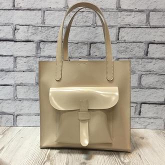 """Женская сумка """"Гарда"""" на плечо из натуральной кожи бежевого цвета, сумка-шоппер цвета слоновой кости"""