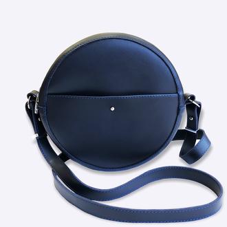 Круглая сумка синего цвета