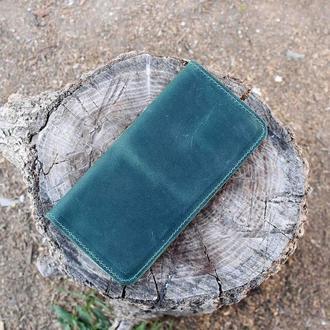 Портмоне визитница из натуральной кожи на магнитах Зеленый 10c