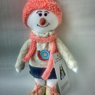 Интерьерная куколка девочка снеговик