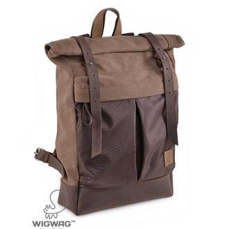 Рюкзак-роллтоп коричневого цвета, канвас и натуральная кожа