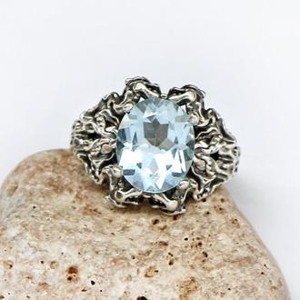 Серебряное кольцо с голубым топазом, серебро 925