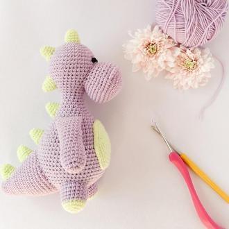 Динозаврик. Вязаный динозавр. Игрушка динозавр. Подарок мальчику
