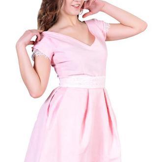 Платье беби-долл с кружевом и двусторонним поясом, розовая