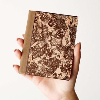 """Деревяная обложка на паспорт """"FLOWERS"""", паспортная обложка, обложка для паспорта с дерева"""
