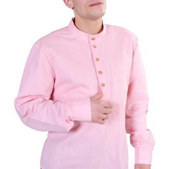 Рубашка мужская с отстроченной кокеткой, розовая