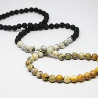 Мужской браслет бусы, мужские бусы на руку, мужской браслет из камней градиент