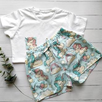 Женская пижама шорты и футболка в единороги