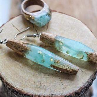 Серьги из дерева и ювелирной смолы, сережки удлинённые серьги из древесины дуба