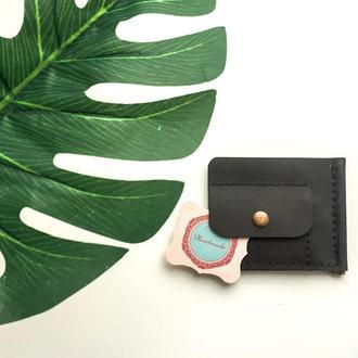Мужской кожаный кошелёк с зажимом