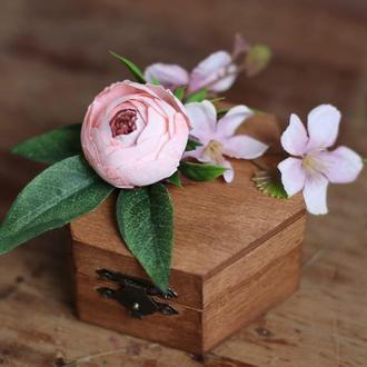Шкатулка для колец мота розовая