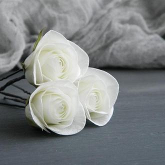 Шпильки для волос с розами, Свадебные шпильки с цветами, Подарок девушке
